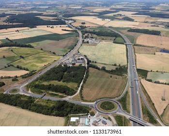 aerial view of the old and new A1 motorway roads at Selby Fork, North Yorkshire