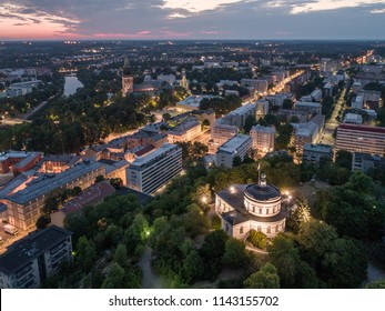 Aerial view of the old observatory building on vartiovuori hill with Turku Cathedral in the background at summer morning in Turku, Finland