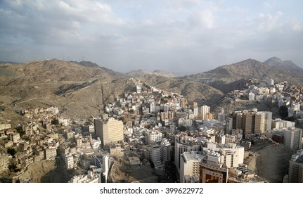 Aerial view of the old part of Mecca Saudi Arabia