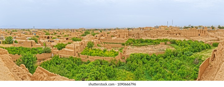 Aerial view of the old part of the Meybod Iran, sprawling mud-brick town that is at least 1800 years old.