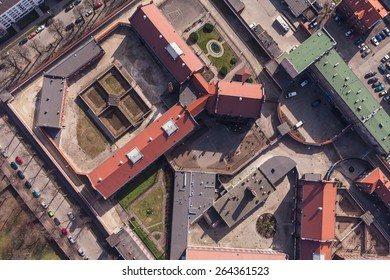 aerial view of old Prison in Wroclaw city  in Poland