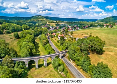 Aerial view of an old railway viaduct in Cleron, a village in the Doubs department of France