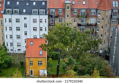 Aerial view of old residential area in the city of Aarhus, Denmark.