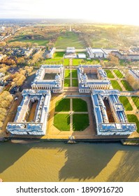Aerial view of Old Royal Naval College in Greenwich, London, UK