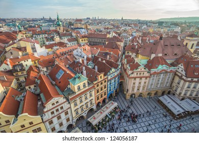 aerial view of old square in prague from top of city hall