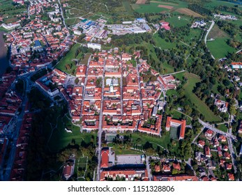 Aerial view of old star in Karlovac city, beautiful old town, historical landmark of Croatia, Karlovac, city with 4 rivers
