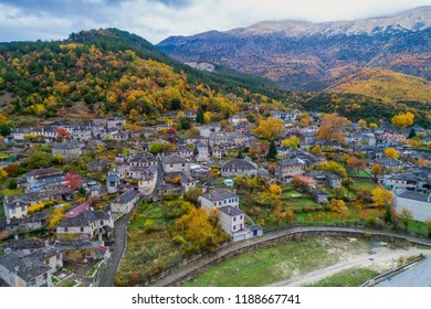 aerial view of old stone houses in the village Papingo of Zagorochoria in the autumn, Epirus, Western Greece