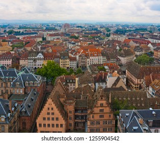 Aerial view of old Strasbourg, France with roofs