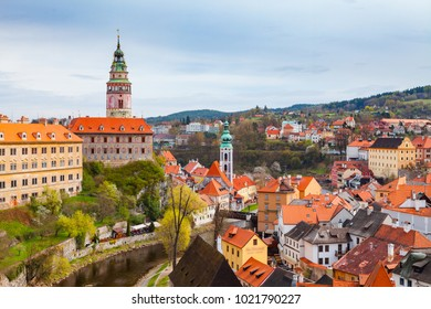 Aerial view of old town and the castle of Cesky Krumlov, Czech republic. Bright spring time.