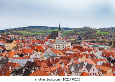 Aerial view of old town of Cesky Krumlov, Czech republic. Bright spring time.