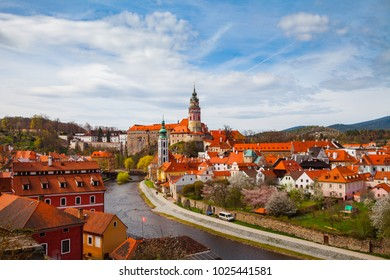 Aerial view of old town of Cesky Krumlov witth the castle tower, Czech republic. Bright spring time.