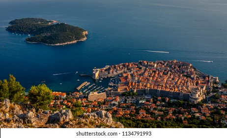 Aerial view of the old town of Dubrovnik, Croatia, and the island of Lokrum