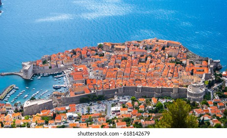 The aerial view of Old Town Dubrovnik in Croatia.