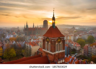 Aerial view of the old town in Gdansk at sunset, Poland