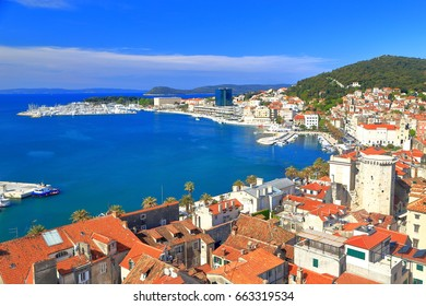 Aerial view to the old town and harbor of Split, Croatia