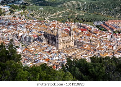 Aerial view of Old Town of Jaen with the Cathedral, Andalusia, Spain