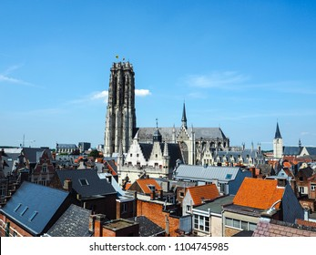 Aerial view of the old town of Mechelen and the Saint Rumbold's Cathedral, in the province of Antwerp, Belgium
