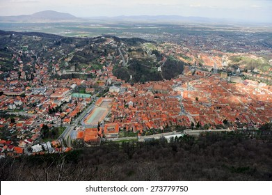 Aerial view with the old town of medieval city of Brasov