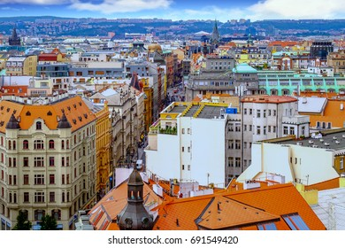 Aerial view of the Old Town in Prague, Czech Republic.