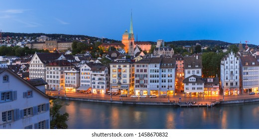 Aerial view of Old Town and river Limmat during morning blue hour in Old Town of Zurich, the largest city in Switzerland