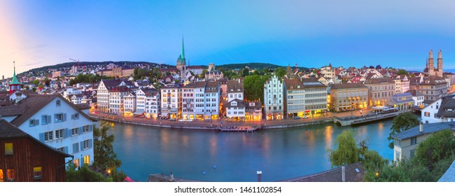 Aerial view of Old Town and river Limmat during morning blue hour in Zurich, the largest city in Switzerland