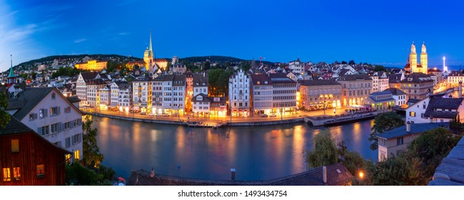 Aerial view of Old Town and river Limmat at night in Zurich, the largest city in Switzerland
