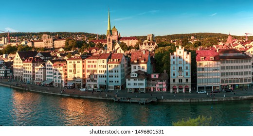 Aerial view of Old Town and river Limmat at sunset in Zurich, the largest city in Switzerland