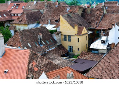 Aerial view of old town Sighisoara, Romania