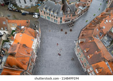 Aerial View of the Old Town streets in Tournai, Belgium