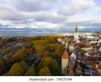 Aerial view of the old town of Tallinn Estonia