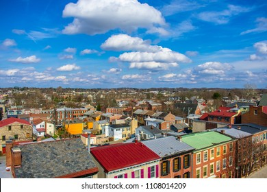 Aerial view of Old town in United state with blue sky in summer daytime - West Chester, Pennsylvania USA