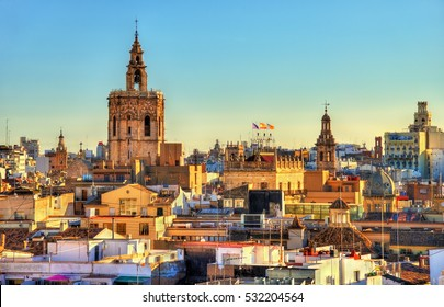 Aerial view of the old town in Valencia from the Serranos Gate - Spain