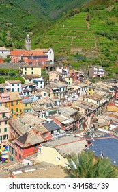 Aerial view to the old town of Vernazza, Cinque Terre, Italy