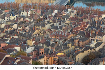 Aerial view of the old town Vieux Lyon, in Lyon, France (UNESCO World Heritage Site).