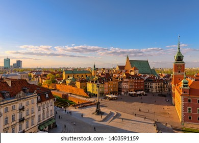 Aerial view of the old town in Warsaw