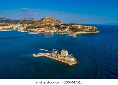 Aerial view of Old Venetian fortress on the island of Bourtzi, Nafplion, Greece