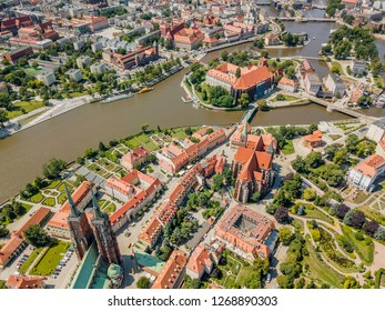 Aerial view of the oldest, historic part of Wroclaw located mostly on the islands, Poland