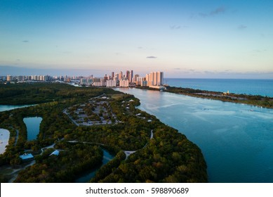 Aerial view of Oleta River State Park, Halouver and Sunny Isles in Miami, Florida.
