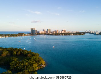 Aerial view of  Oleta River State Park, Halouver sandbar, boats, and Bal Harbour  in Miami, Florida.