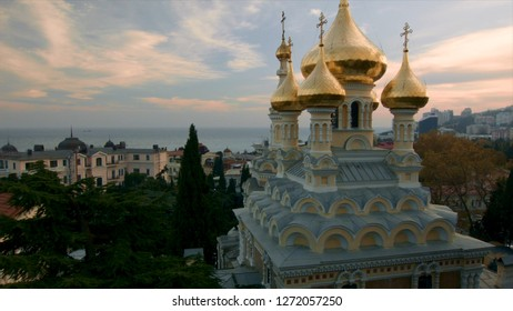 Aerial view on Alexander Nevsky Orthodox church with golden domes in Yalta. Shot. Crimea. Ukraine. Ukraine, Yalta, the Alexander Nevsky orthodox church with golden domes