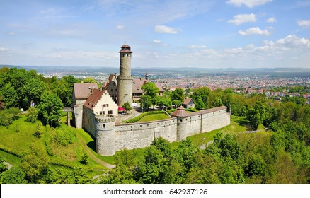 Aerial view on Altenburg Castle - historic hilltop castle near Bamberg, Bavaria, Germany