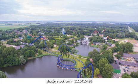 Aerial view on a Amusement Park in the netherlands