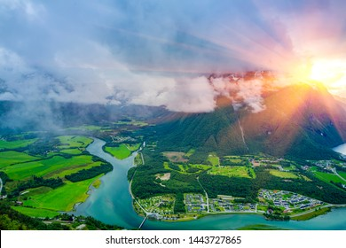 Aerial view on Andalsnes At Sunsise Over Mountain, Norway,  Mountain Landscape and Fjord View, Rauma, Romsdal, Norway.