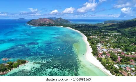 aerial view on anse volvert cota d'or beach on Praslin island in Seychelles