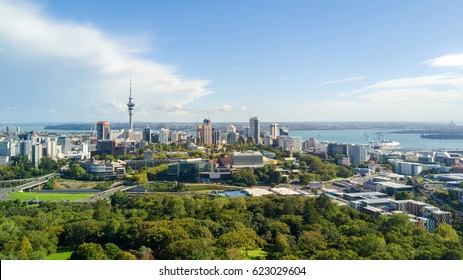 Aerial view on Auckland city center with Waitemata Harbour on the background. New Zealand