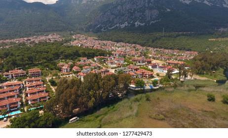 Aerial view on Azmak Stream in Akyaka Village. Akyaka is popular tourist destination in Turkey. Marmaris/Mugla Turkey