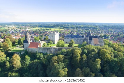 Aerial view on the Bad Bentheim castle. The largest castle in Northern Gemany