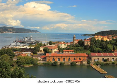 Aerial view on bay  and navy base in La Spezia city, Italy.