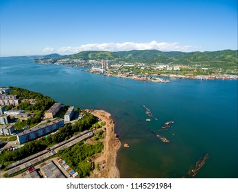Aerial view on bay and part of city Petropavlovsk-Kamchatsky