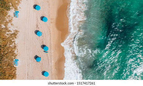 Aerial View on Beach coastline and Atlantic Ocean in Weekend day in Delray Beach, Florida. Drone Beach Landscape.